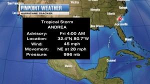 Andrea Crosses Florida